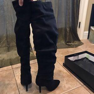 Nina Knee High Scrunch Suede Like Boots